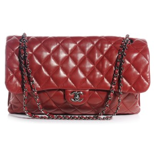 b30f37d13156 Chanel Classic Flap Lambskin Maxi Quilted 3 Dark Red Shoulder Bag ...
