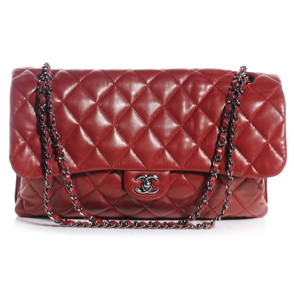 3f8407a8dab892 Chanel Classic Flap Lambskin Maxi Quilted 3 Dark Red Shoulder Bag ...