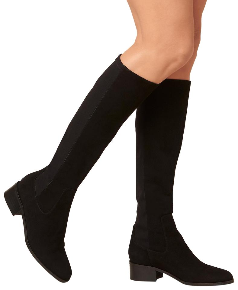3e2dd82f22f L.K. Bennett Black Bella Stretch Suede Leather Over The Knee Boots ...