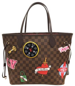 Louis Vuitton Limited Edition Neverfull Mm Patches Neverfull Mm Patches 2018 Patches Collection Tote in Damier Ebene