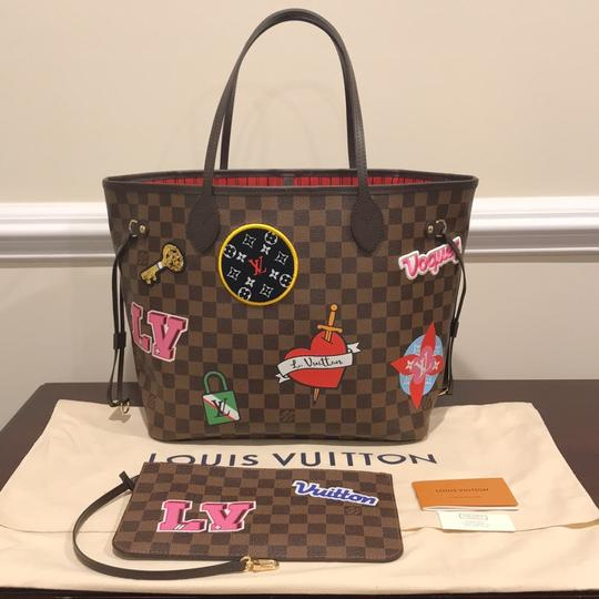 Louis Vuitton Limited Edition Neverfull Mm Patches Neverfull Mm Patches 2018 Patches Collection Tote in Damier Ebene Image 1