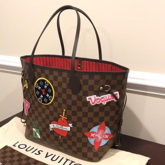 Louis Vuitton Limited Edition Neverfull Mm Patches Neverfull Mm Patches 2018 Patches Collection Tote in Damier Ebene Image 2