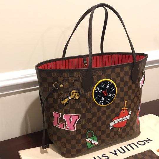 Louis Vuitton Limited Edition Neverfull Mm Patches Neverfull Mm Patches 2018 Patches Collection Tote in Damier Ebene Image 3