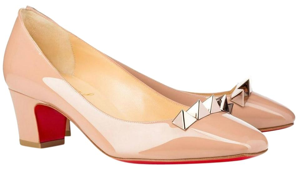 Christian Beige Louboutin Beige Christian Pyramidame Patent Leather Pumps e653e8