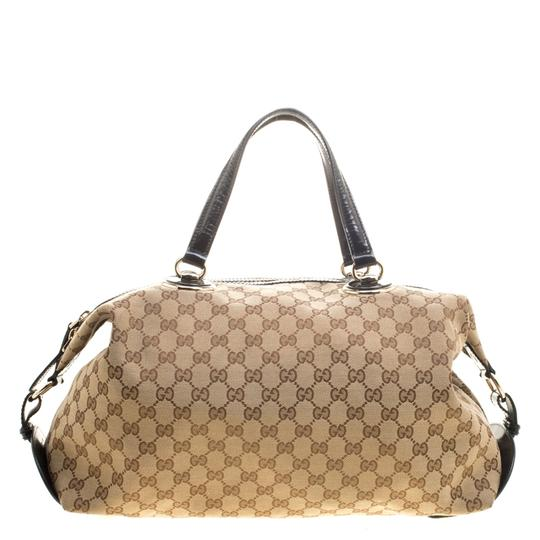 9b5c25afed1302 gucci boston beige black gg canvas and leather medium full moon fabric  satchel 47% o... TRADESY