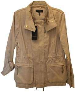 Escada Cotton Blend Zip Front Removable Collar New With Tags Brown Jacket