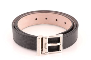 Givenchy Givenchy Black Calfskin Leather Square Buckle Belt