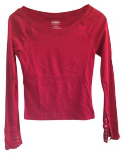 Express Scoop Back Snap Buttons Crop Top Red