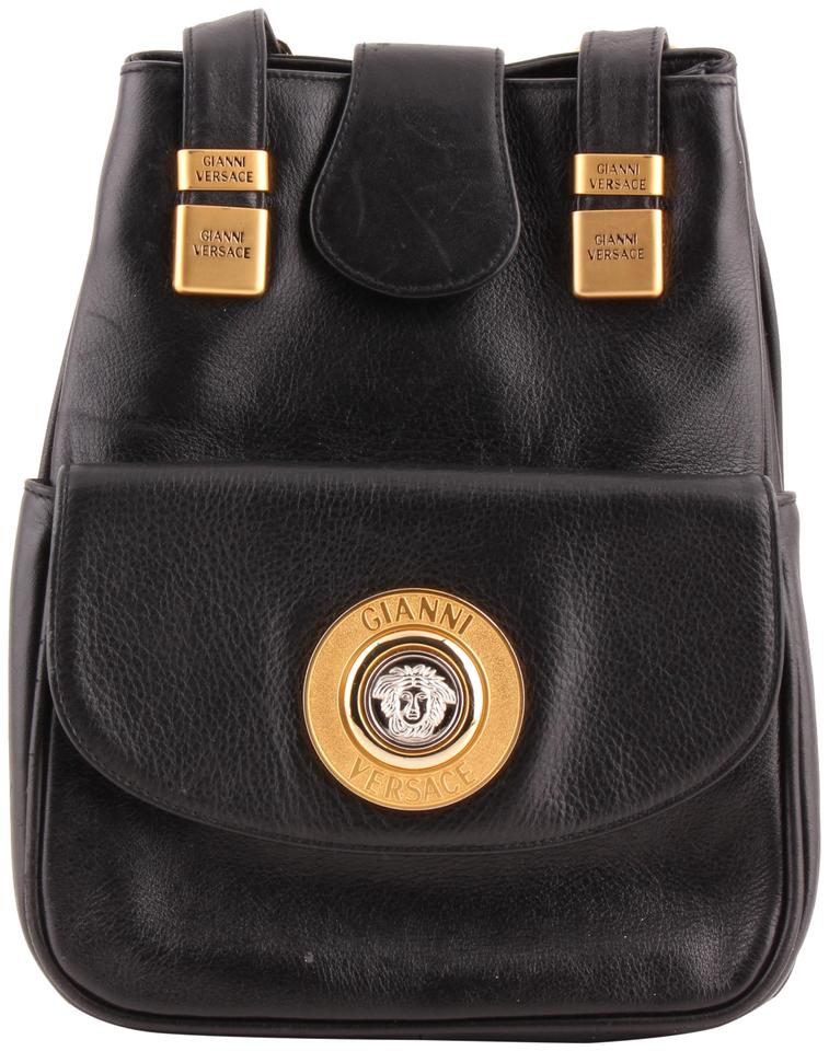 d7d13fe0508b Versace Vintage Medusa Sling Black Leather Backpack - Tradesy