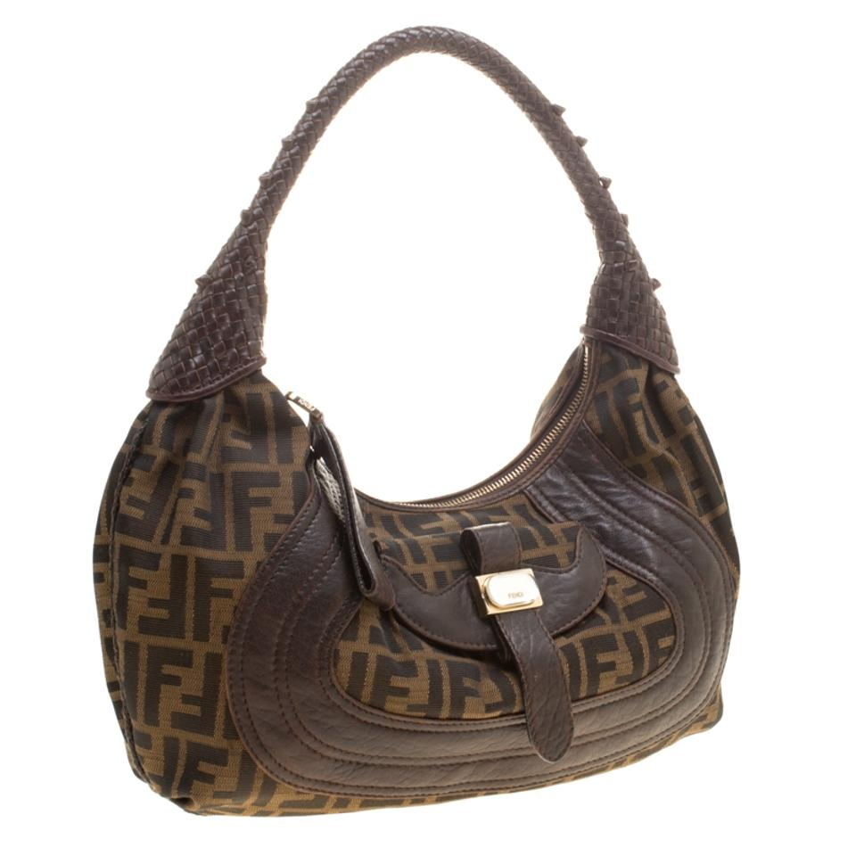 6468bbbd7268 Fendi Zucca and Leather Spy Brown Canvas Hobo Bag - Tradesy