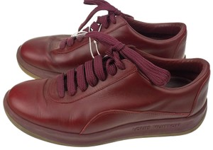 Louis Vuitton Red Leather Sneaker Running Walking Brugandy Athletic
