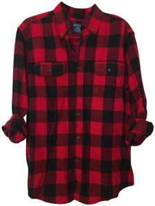 Faded Glory Button Down Shirt red and black