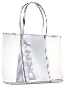 DKNY Shopper Medium Size Red Faux Patent Leather Tote in CLear