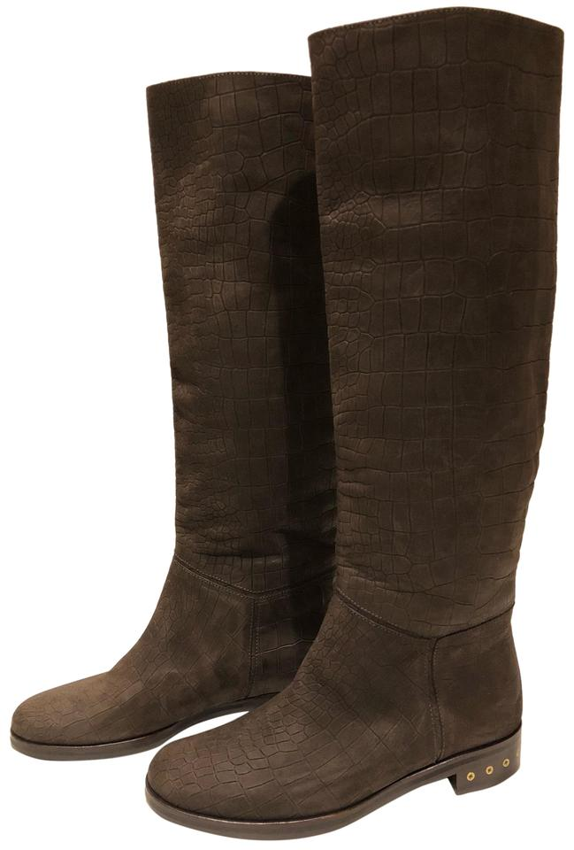 471574b82a95 Lanvin Brown New Croc Embossed Leather Knee High Boots Booties Size ...