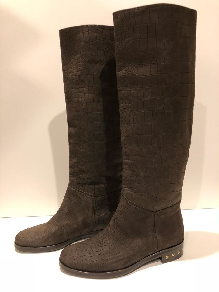 a9f506852ef Lanvin Brown New Croc Embossed Leather Knee High Boots/Booties Size EU 36  (Approx. US 6) Regular (M, B) 80% off retail