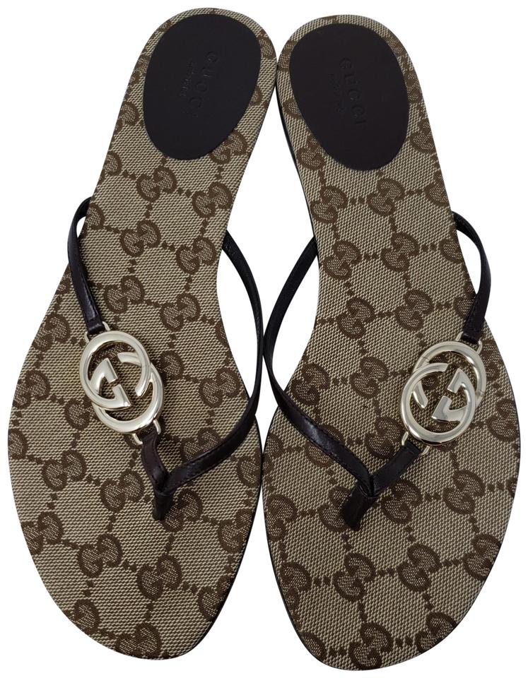 256803864723 Gucci Crystal Gg Guccissima Gold Hardware Charm Brown Sandals Image 0 ...