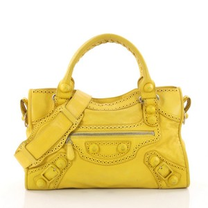 Balenciaga City Giant Leather Tote in Yellow
