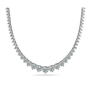 Madina Jewelry White 15.00 Ct Ladies Graduated Cubic Zirconia 925 Kt Silver Necklace