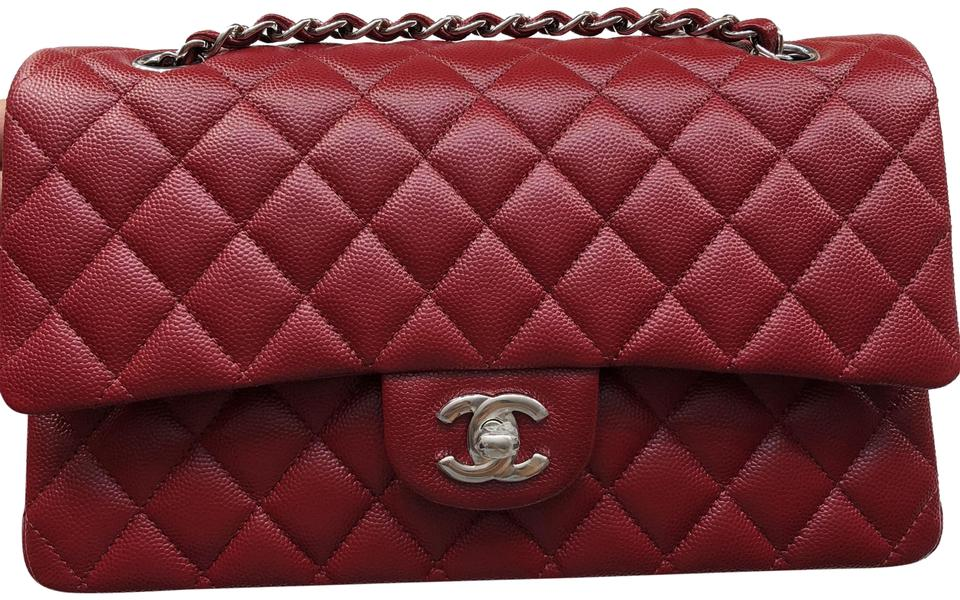 Chanel Classic Flap Medium In Dark Red Caviar Leather Shoulder Bag ... 07b9694de9