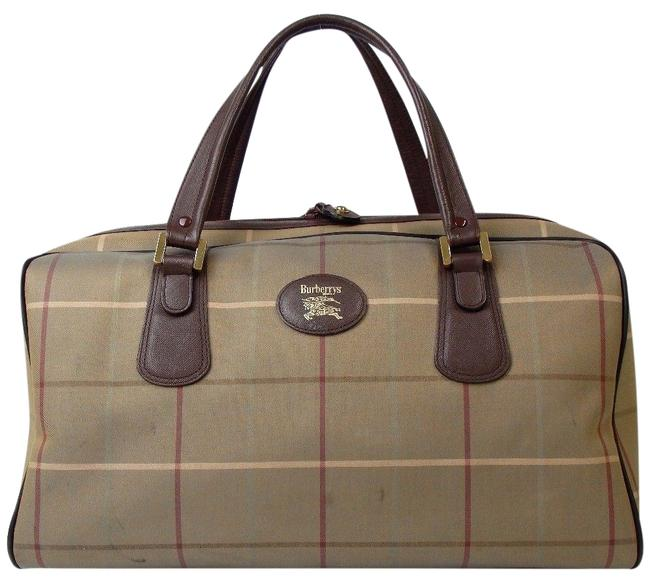 Item - Boston Bag Travel Duffel Multicolor Fabric with Leather Satchel