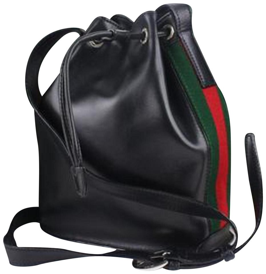 f0a77927e08bce Gucci Bucket Hobo Sherry Web Drawstring 9gz0925 Black Leather Cross Body Bag