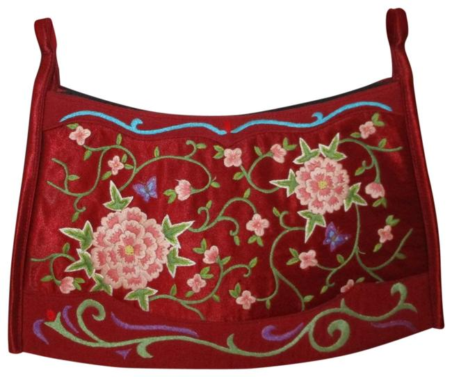 Item - Embroidered Clutch Red Satin Satchel