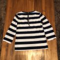 J.Crew Black with White Faux Leather Trim Striped Tunic Size 2 (XS) J.Crew Black with White Faux Leather Trim Striped Tunic Size 2 (XS) Image 5