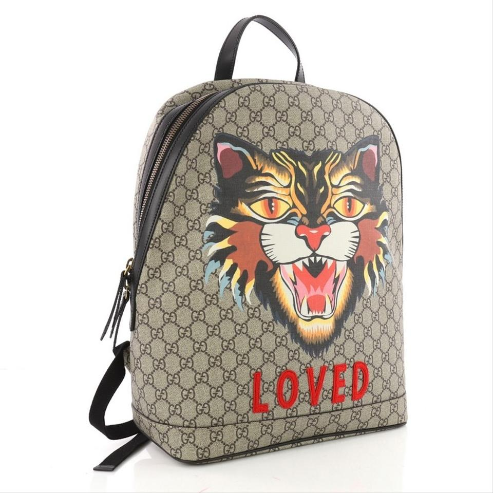 236588e49 Gucci Angry Cat Printed Gg Coated Medium Brown Canvas Backpack - Tradesy