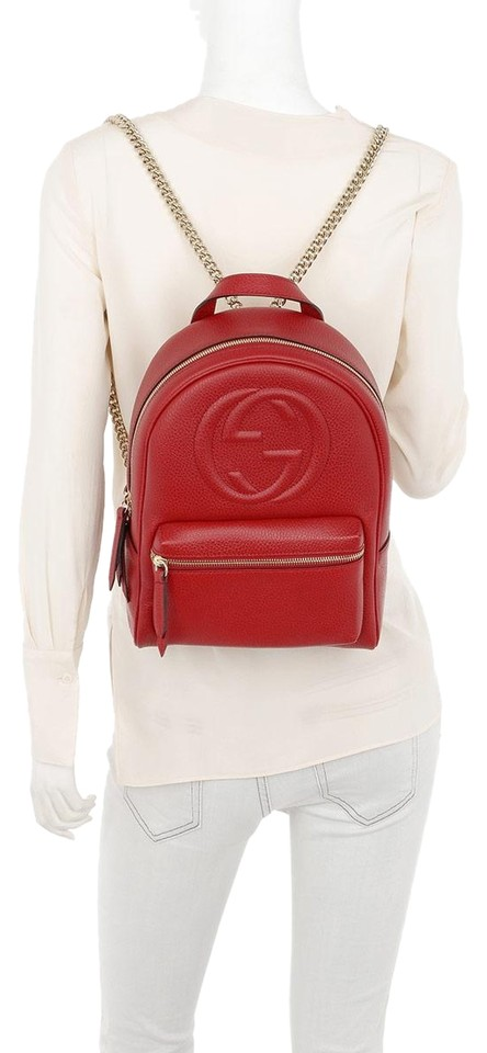 Gucci Soho New Gg Logo Tote Red Leather Backpack - Tradesy