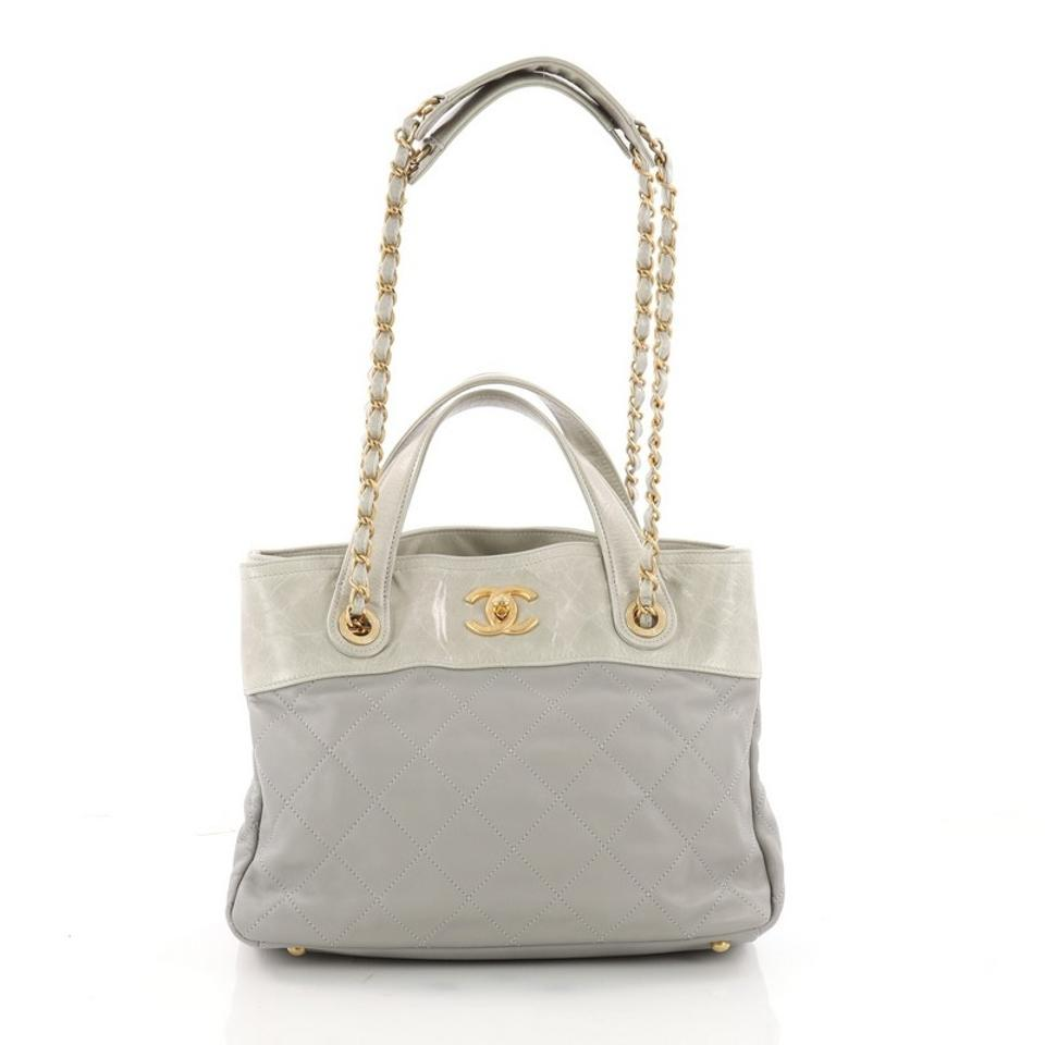 3f570042fb45e9 Chanel In The Mix Shopping Quilted Calfskin Small Light Gray Leather ...