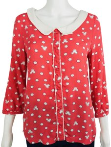 LC Lauren Conrad Mickey Mouse Peter Pan Collar Covered Buttons Top Red