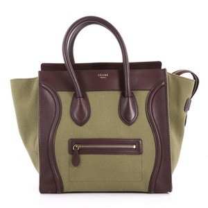 Céline Canvas Leather Tote in Green and Brown