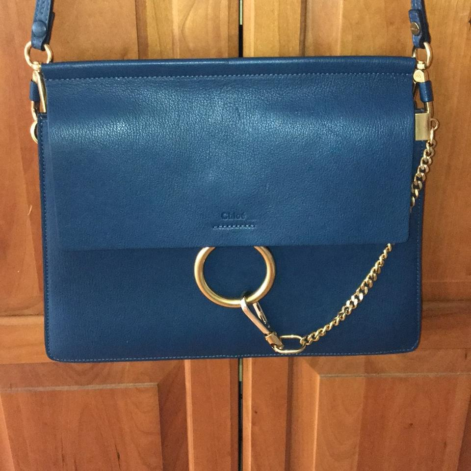 49898c1802228 Chloé Faye Navy Leather Shoulder Bag - Tradesy