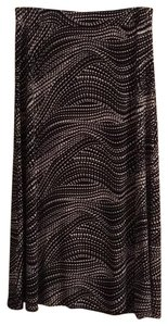 Evan Picone Maxi Skirt Black with white and grey dots