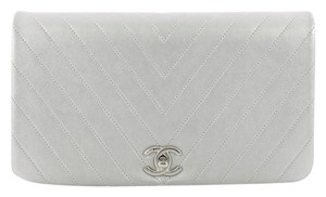 Chanel Leather Silver Clutch