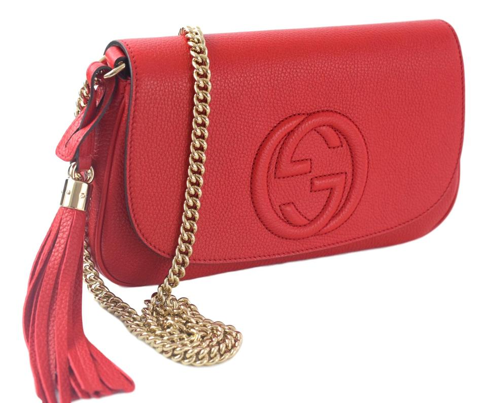 775287aa5 Gucci Soho Women's Gg Chain 536224 Red Leather Cross Body Bag - Tradesy