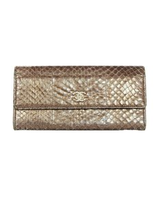 Chanel Metallic Python Wallet W/ Textured Goldtone CC Snap In Front
