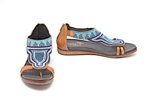 PIKOLINOS Brown Leather Maasai Multi Color Sandals