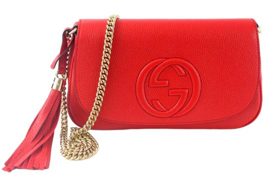 3bcd996b662fd gucci soho womens gg chain 536224 red leather cross body bag 28% off retail