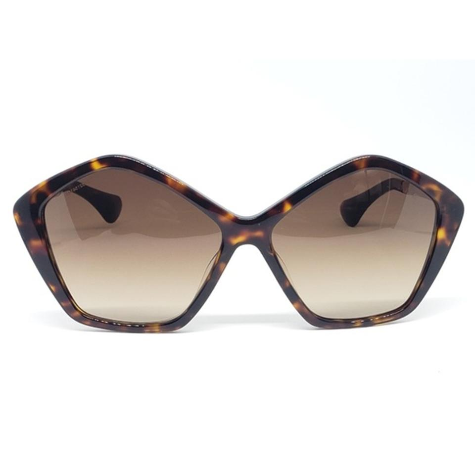 4b9588e4713 Miu Miu Havana   Gold Women Pentagonal Plastic Frame with Brown Gradient  Lens Sunglasses