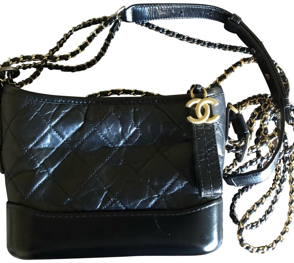 2b34dc56c883 Chanel Gabrielle Hobo Small Black Calfskin Leather Cross Body Bag ...