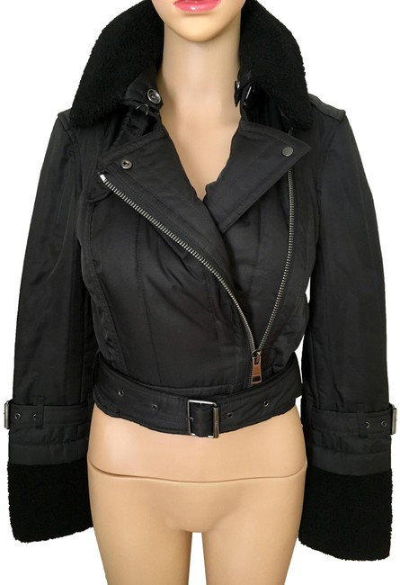 Item - Black Brit Cropped Biker/Moto with Shearling Collar&sleeves Jacket Size 4 (S)