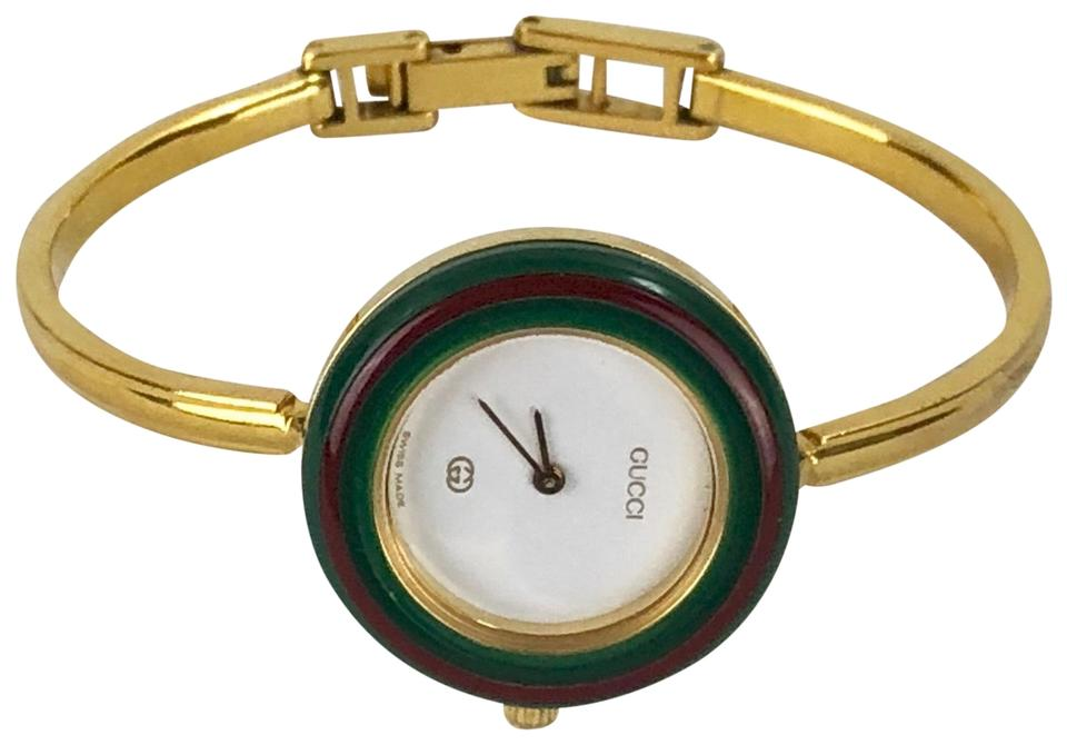 43f88c2028d Gucci GUCCI Gold Red Green Vintage Bracelet Watch Image 0 ...