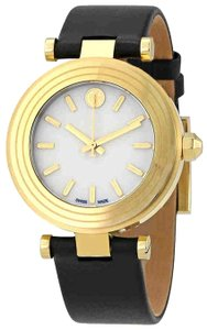 Tory Burch NWT Classic Ivory Dial Ladies Black Leather Watch TRB9003