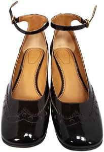 Chloé Patent Leather Mary Jane Ankle Strap Brown Pumps