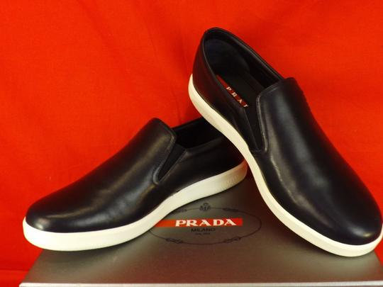 Prada Blue Dark Leather Lettering Logo Skater Slip On Sneakers 9.5 Shoes Image 3