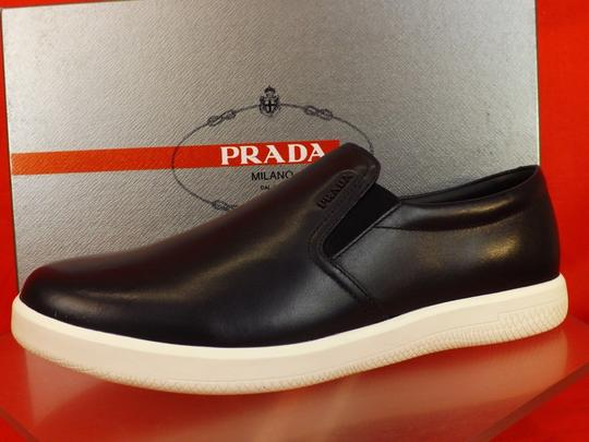 Prada Blue Dark Leather Lettering Logo Skater Slip On Sneakers 9.5 Shoes Image 7