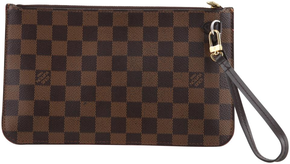 e90420a31516 Louis Vuitton Neverfull Pochette Damier Ebene Mm Gm Brown Canvas Wristlet