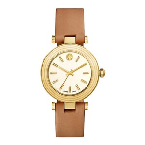 Tory Burch NWT Classic Ivory Dial Ladies Brown Leather Watch TRB9002