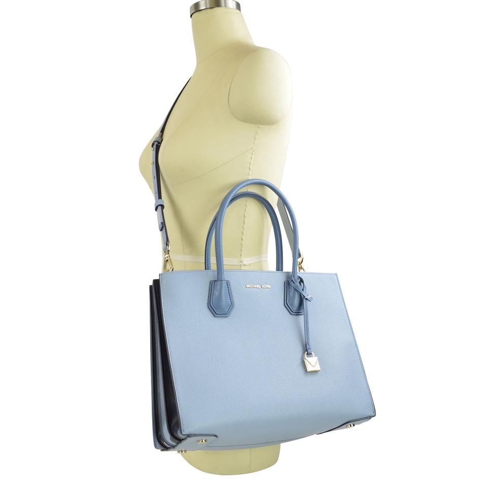 5bacad04a Michael Kors Pebble Leather Convertible Tote in Pale Blue Image 0 ...